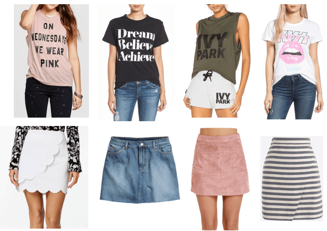Summer college outfits: Easy outfit formulas for summer - graphic tee and skirt. Photos of tops: On Wednesdays We Wear Pink Tank, Dream Believe Achieve tee, Ivy Park tank, Kiss tee, Skirts: white scalloped skirt, denim mini skirt, pink suede mini skirt, black and white striped skirt