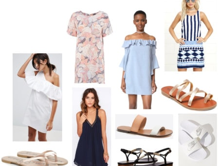 Summer college outfits: Shift dress and sandals. Includes: White off-shoulder ruffle dress, pink and blue patterned shift dress, blue off-the-shoulder shift dress, light blue and navy patterned shift dress. Sandals include gold strappy sandals, black Dolce Vita sandals, white Nike slip ons, metallic gold flip flops