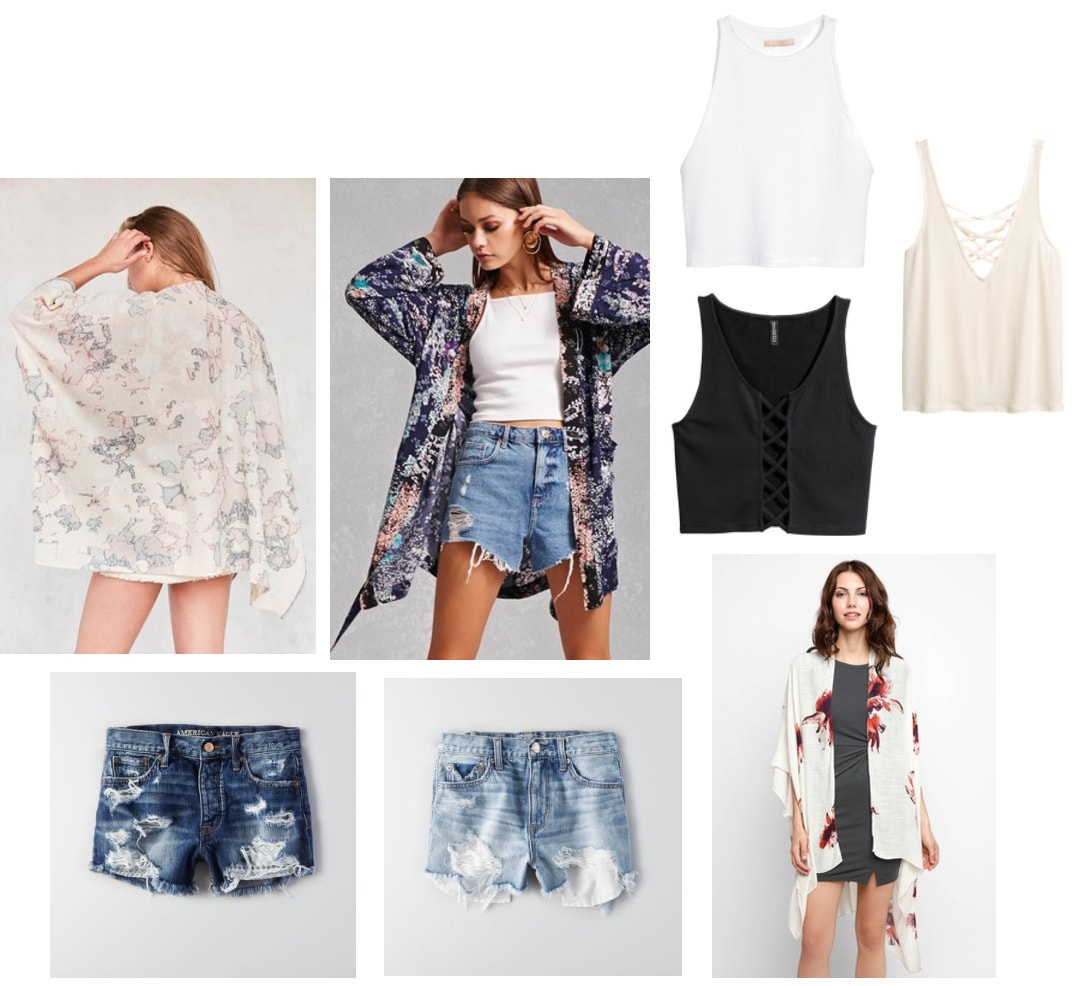 Summer college outfits: Solid tank tops, kimono jackets, denim cutoffs