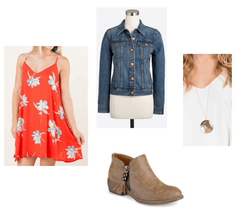 Fall transition outfits: Summer to fall outfit idea with summer sundress, jean jacket, tan suede booties, pendant necklace