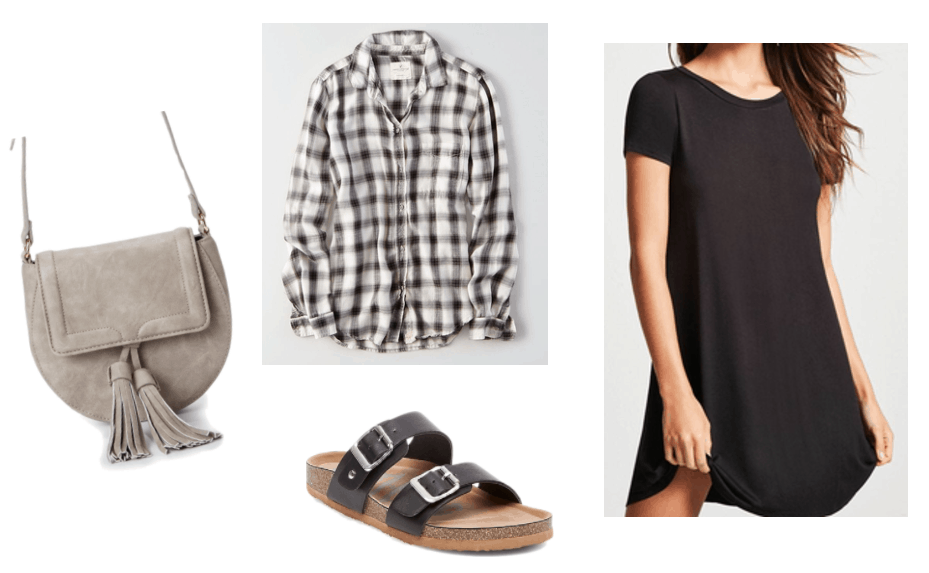 Fall transition outfits: Summer to fall outfit idea for wearing a flannel shirt in warm weather. Tie the flannel around your waist and wear with a black t-shirt dress, Birkenstocks, and a suede cross-body bag