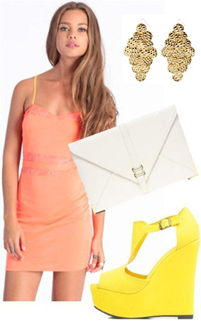 Outfit inspired by the Summer Fling: Coral minidress, white clutch, neon yellow heels, statement earrings