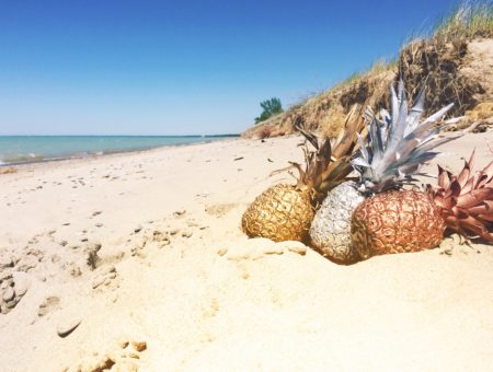 What to wear in the sweltering summer heat -- pineapples on the beach in metallic colors