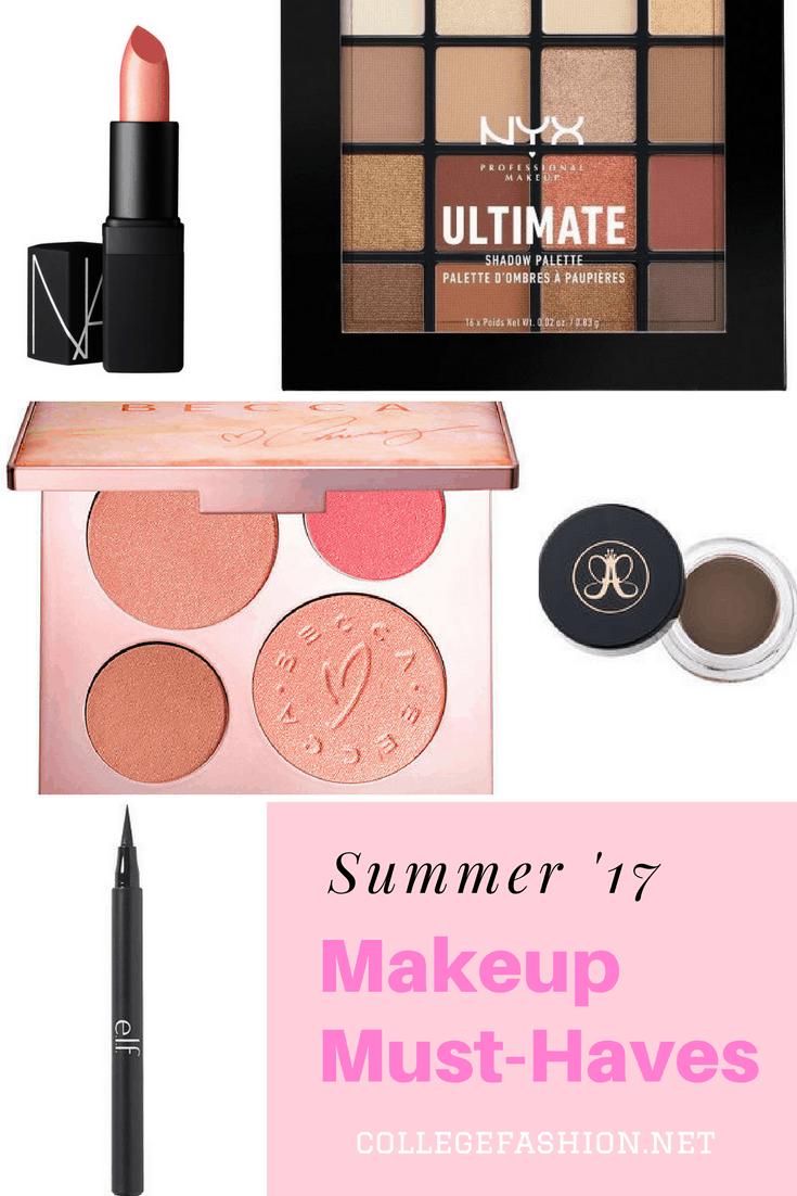 Summer 2017 Makeup Must-Haves: NARS Lipstick, NYX Ultimate palette, Becca x Chrissy Teigen palette, Anastasia DipBrow, elf Liquid Liner