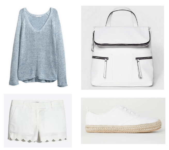 Photo set including a blue sweater, white scallop hem shorts, a white bookbag purse, and white espadrille sneakers.