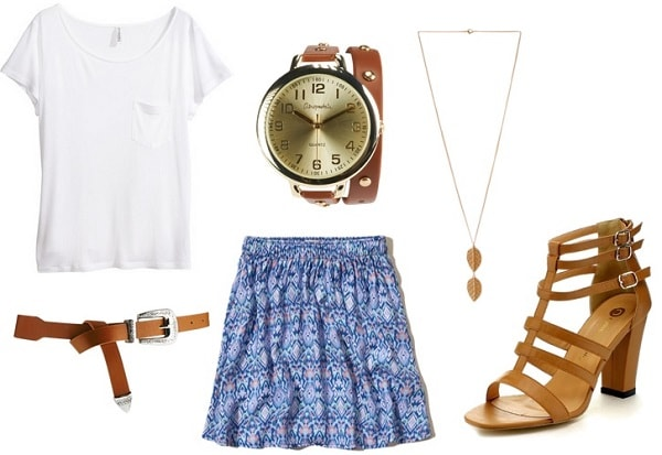 Summer Class Outfit: Printed Skirt, White Top, and Sandals