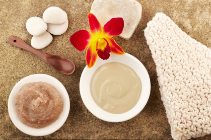 Spa still life orchid, mud mask, spoon sugar scrub, soap