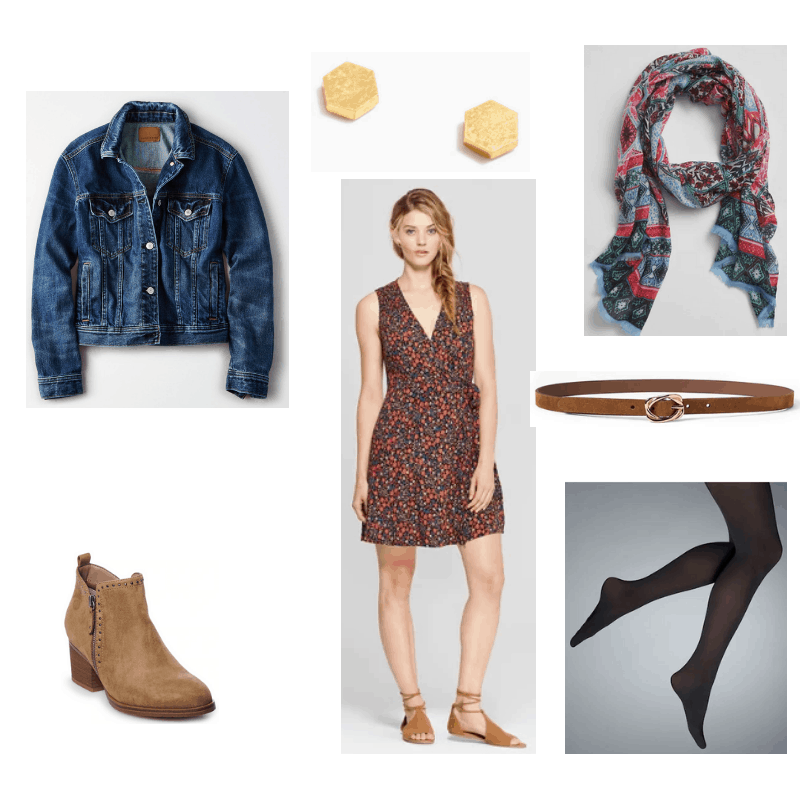 Outfit with denim jacket, floral dress, black tights, studded ankle boots, printed scarf, brown skinny belt, and geometric earrings