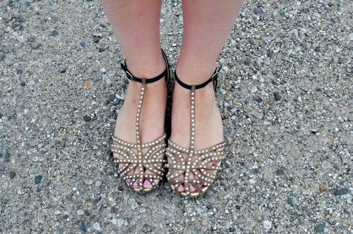 Summer trend embellished sandals