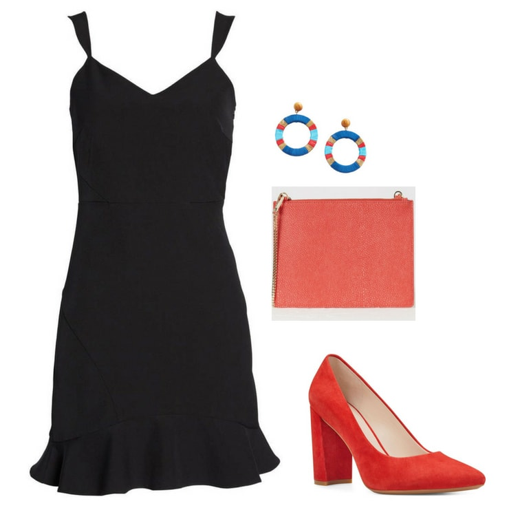 Summer wedding outfit: Little black dress, funky earrings, colorful clutch, red shoes