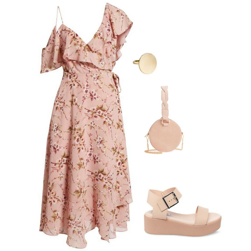 Summer wedding outfit for a garden party: Pink ruffle floral dress, blush pink circle bag, statement ring, platform sandals