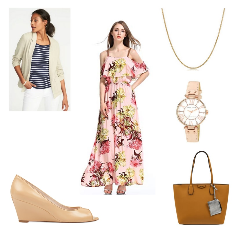 How to wear a maxi dress to work with a cream blazer, rose gold watch, nude peep toe wedges, and a brown tote bag