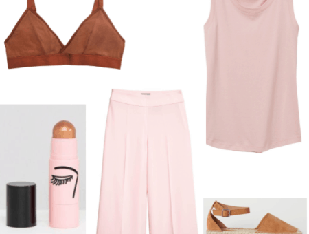 An outfit featuring desert colors from sustainable brands