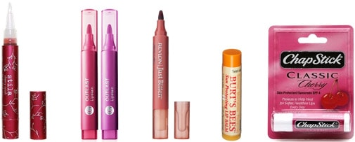 Sun-proof Lipcolor: Stila Lipstain, Covergirl Outlast Lipstain, Revlon Just Bitten Lip Stain, Burts Bees Lip balm, and Chapstick with SPF
