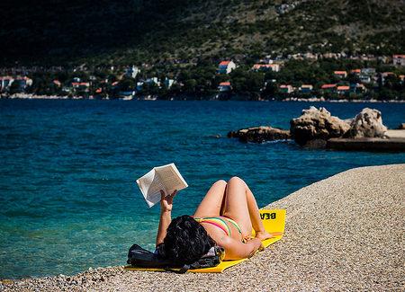 Sun tanning beach
