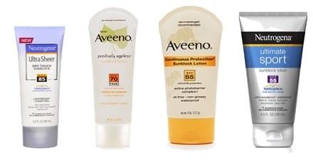 Sunblock by Aveeno and Neutrogena