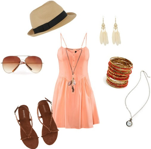 Outfit idea: Summer sundress with a v-neck tee and flats