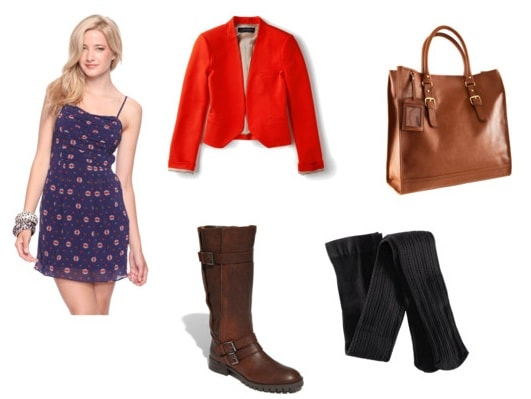 Outfit idea: Summer sundress with a red blazer and boots
