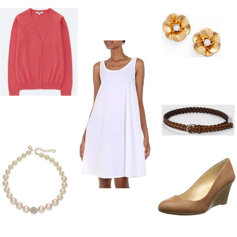 How to style a sundress for work with a pink cardigan sweater, brown wedge heels, pearls, earrings, and a simple belt