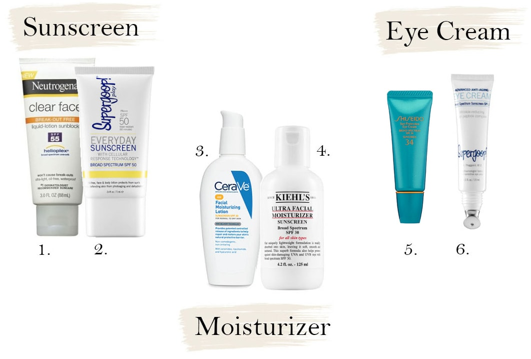 Skincare products with SPF