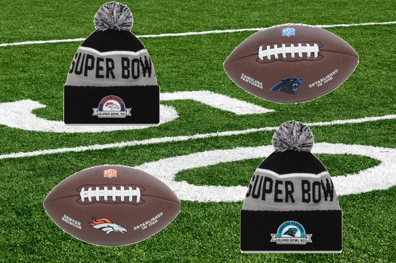 Superbowl hats and footballs