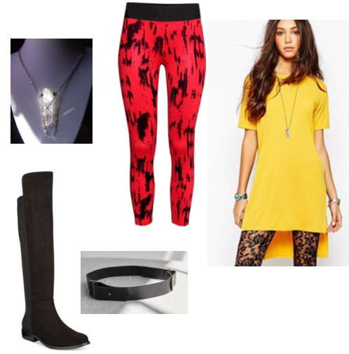 Superhero inspired outfit idea: Tunic top, leggings, over the knee boots