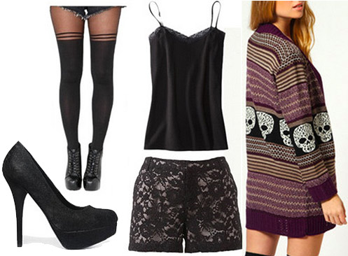 Outfit for a sushi date with friends: Oversized sweater, lace shorts, black tank, tights, black heels