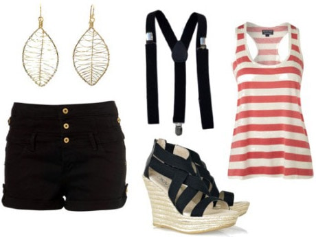 Outfit 2: How to wear suspenders with black shorts and wedges