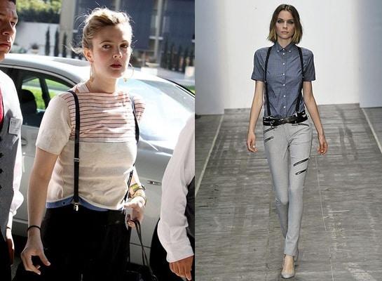 Drew Barrymore in suspenders