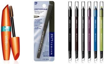 Waterproof Eye Makeup: CoverGirl LashBlast Waterproof Mascara, Maybelline Eyeliner, and CoverGirl Liquiline Blast Eyeliner