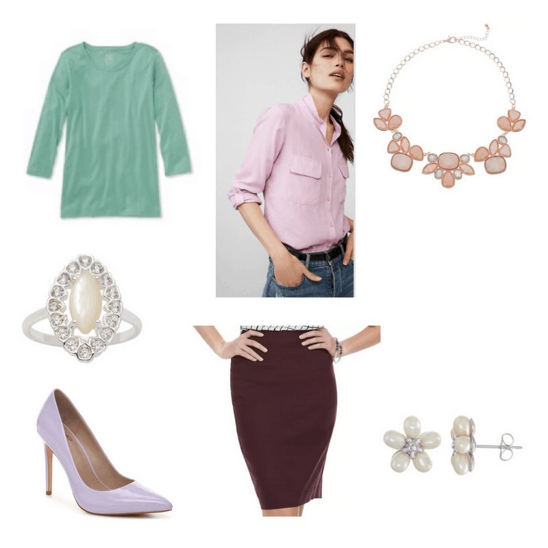 Outfit with mint tee, lilac button-down, lilac pumps, purple pencil skirt, flower stud earrings, bib necklace, and cocktail ring