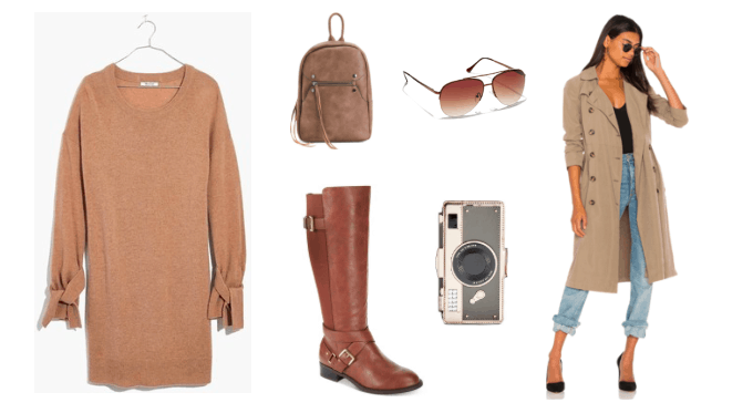 How to wear a sweater dress with boots to class -- outfit with camel long sleeve sweater dress, brown knee high boots, tan trench coat, aviator sunglasses, suede backpack