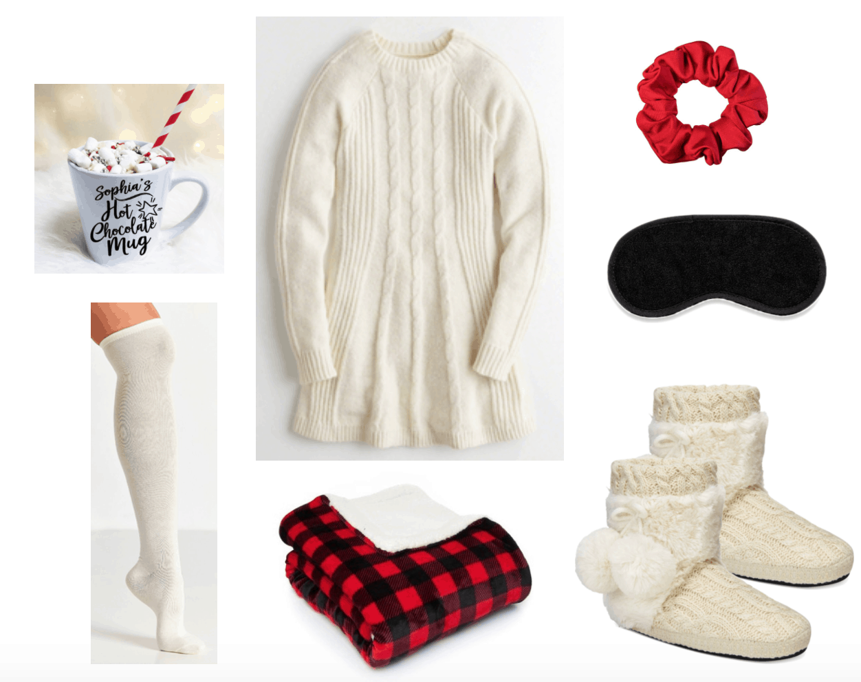 Cozy sweater dress outfit with slippers + socks for relaxing.