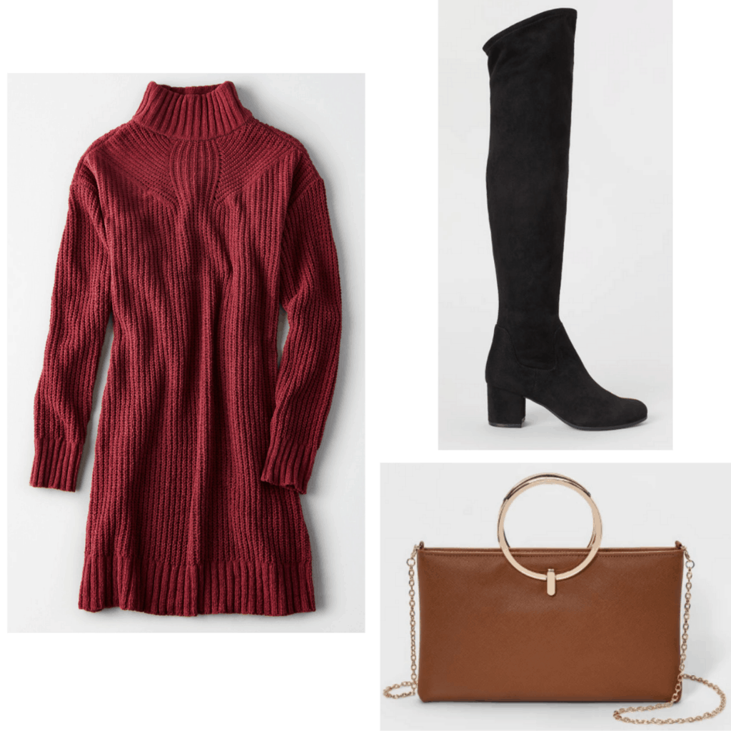 Red sweater dress with black knee high boots and brown hand bag