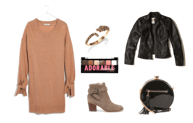 How to wear a sweater dress with boots for a night out -- outfit with camel sweater dress, black motorcycle jacket, tan suede ankle booties, round black bag, cheetah bangle, eyeshadow palette