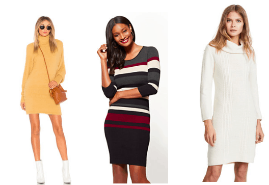 Sweater dress trend: Orange turtleneck sweater dress, gray, white, black and burgundy striped sweater dress, white cowl neck sweaterdress