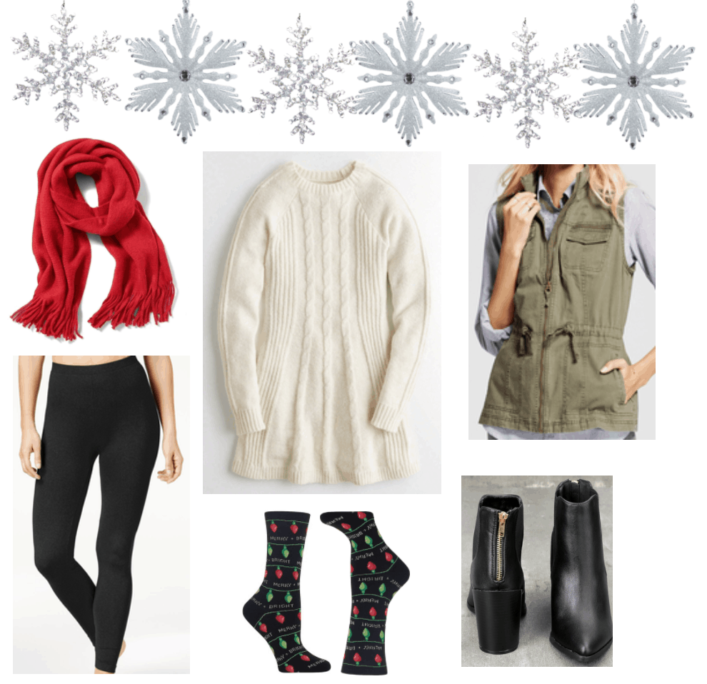 Sweater dress outfits: How to style a sweater dress with green vest and red scarf.