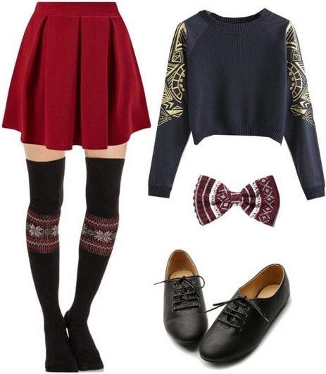 Sweater, skater skirt, fair isle socks