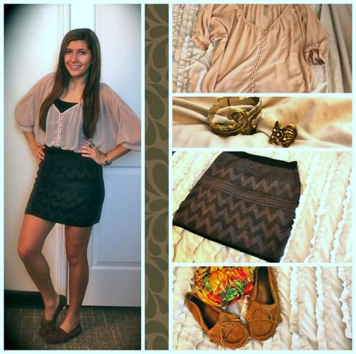 Sweater skirt and chiffon blouse outfit