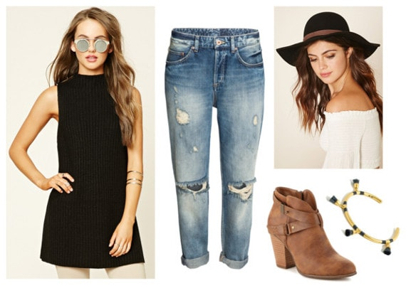 sleeveless sweater, boyfriend jeans, booties