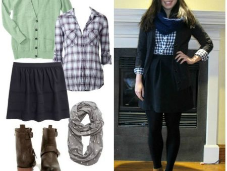 Black skater skirt, plaid shirt, cardigan, boots