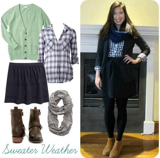 Black skater skirt, plaid shirt, cardigan, boots