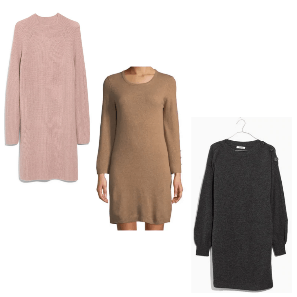 College Fashion Winter Capsule Wardrobe Sweaterdress - Nordstrom, Neiman Marcus, Madewell
