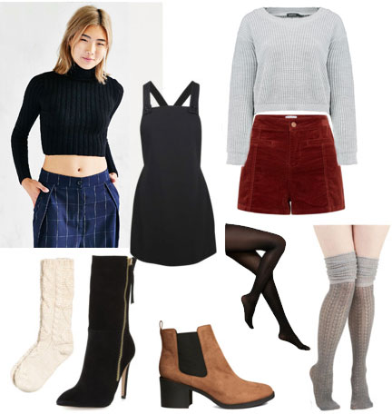 Sweaters, socks, shorts, and boots for spicing up summer clothes in winter