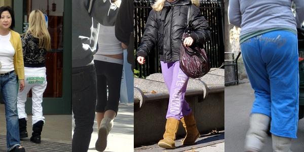 Women wearing sweatpants and uggs