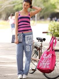 College girl wearing Victoria's Secret Pink sweats