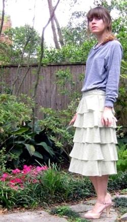 sweatshirt and tiered skirt