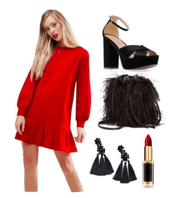 Polyvore set including: A blonde model wearing a sweatshirt pephem dress, satin heels, a black furry bag, black tassel earrings, and red lipstick.