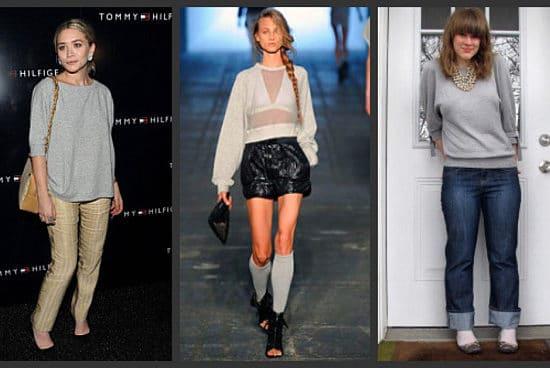Celebrities wearing sweatshirts, from Ashley Olsen to models on the Alexander Wang runway