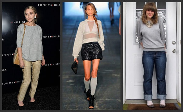 Celebrities wearing sweatshirts, from Ashley Olsen to models on the Alexander Wang runway